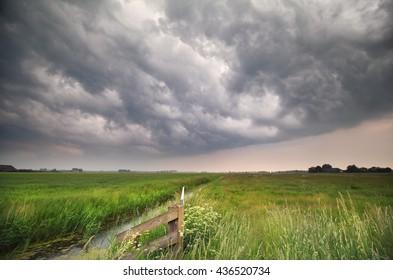 dark stormy clouds over green meadow, Groningen, Netherlands