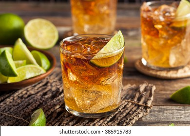 Dark and Stormy Rum Cocktail with Lime and Ginger Beer