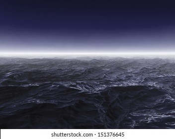 Dark stormy sea waters in foggy night