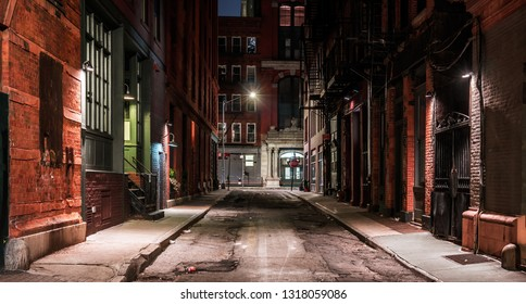 Dark street in New York at night