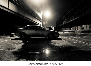 Dark Street at Night in Black and White