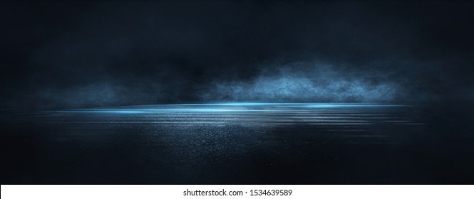 Dark street, wet asphalt, reflections of rays in the water. Abstract dark blue background, smoke, smog. Empty dark scene, neon light, spotlights. Concrete floor - Shutterstock ID 1534639589