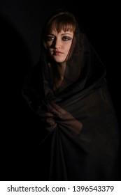 dark style photosession of beautiful young woman, Kyiv Ukraine