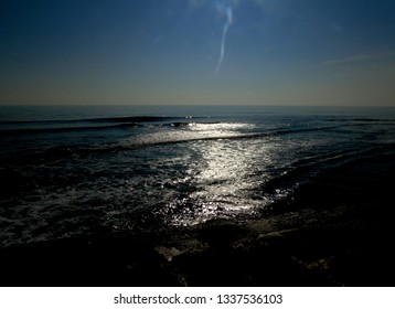 Dark sunset over ocean