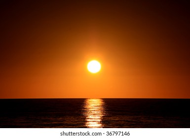 Dark Sunset over Ocean.  Larg's Bay, Adelaide, Australia