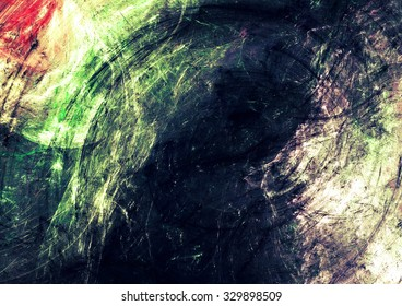 Dark swirl. Abstract bright color artistic background with lighting effect. Dynamic painting texture. Modern futuristic pattern. Fractal artwork for creative graphic design