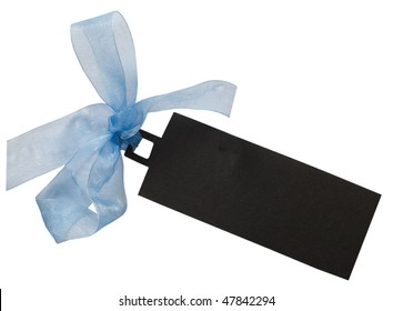 dark tag with blue ribbon
