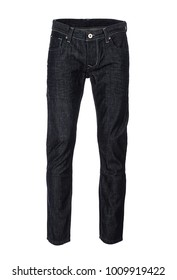 Dark tapered men's jeans, photographed on ghost mannequin, isolated on white background.