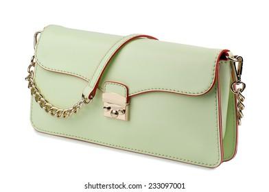 Dark tea green clutch isolated on white background.