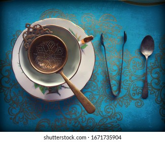 Dark Teatime Arrangement, Teacup, Sugar Tongs, Spoon, Victorian Style, Steampunk