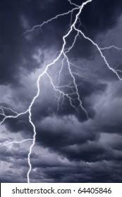 Dark thunderstorm with lightening