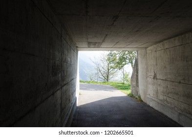 Dark tunnel with bright nature at the end