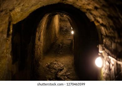Dark tunnel in the Klodzko fortress