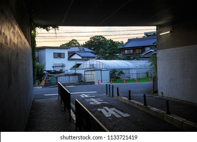 Dark tunnel looking out on to small neighborhood farm in Japanese suburb - text on street reads [Stop]