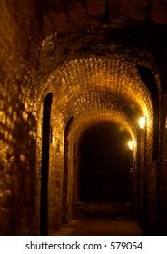 Dark underground corridor