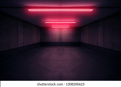 dark underground room with red neon light in cbasment or parking lot