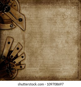 Dark vintage background with old grunge paper texture and mysterious machinery.