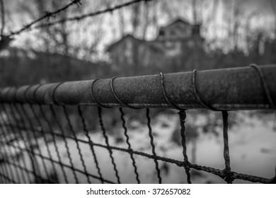 Dark Vintage Black White Fence Barbed Stock Photo (Royalty Free ...