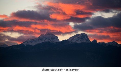 Dark and vivid sunset in the mountains