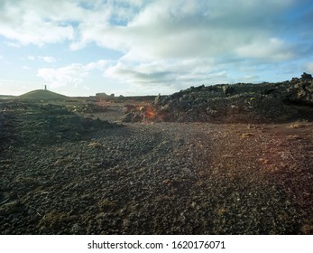 Dark volcanic gravel landscape in Iceland. Backplate for 4x4 4WD offroad cars. Backplate for trekking and hiking.