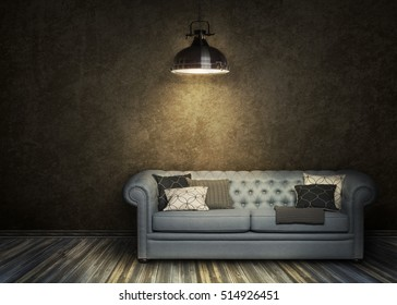Dark wall with blue luxury sofa with few pillow on the oak floor