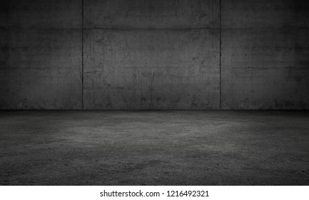 Dark Wall Concrete Garage Room Modern Background Scene with Floor