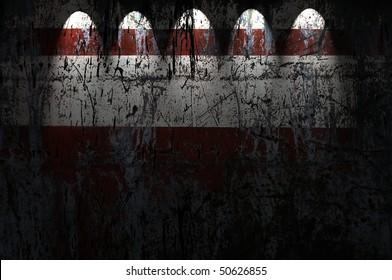 Dark Wall With Five Spotlights