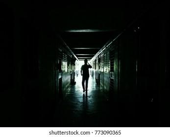 dark way and man