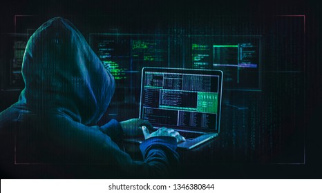 dark web hooded hacker  cyber war concept