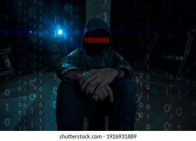 the dark web hooded hacker red text password