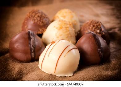 Dark and white chocolate pralines