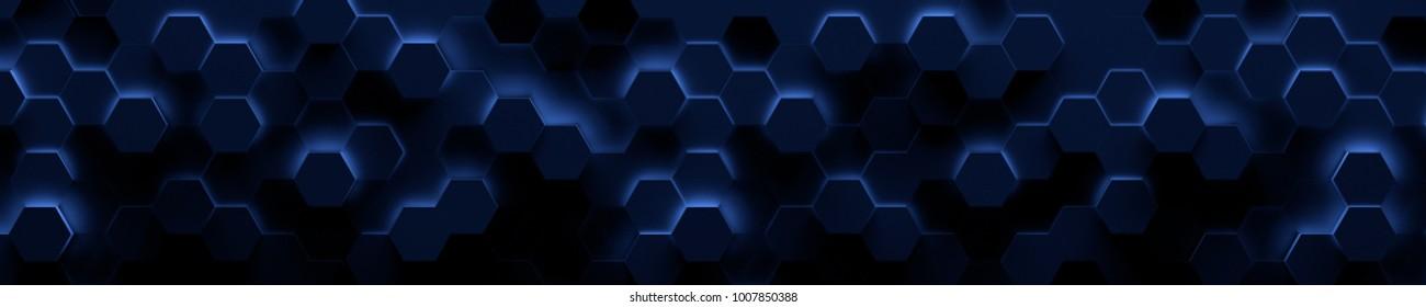 Dark Wide Blue Hexagonal Tile Background (3d Illustration)