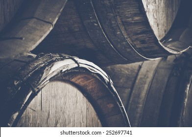 Dark Wine Barrels to store wine with vintage Instagram style film filter