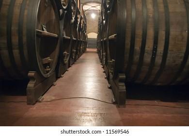 Dark wine cellar at a Bodega in Mendoza, Argentina