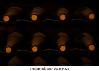 Dark wine cellar. Dusty bottles of wine on shelves.