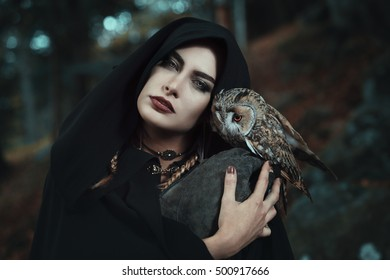 Dark witch of the forest with her owl familiar. Fantasy and fairytale