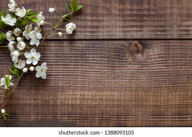Dark wood background with cherry branch, top view.