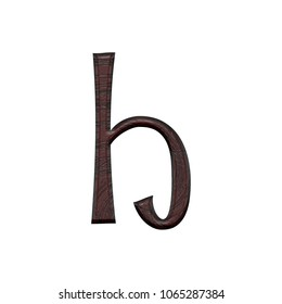 Dark wood grain textured letter H (lowercase) in a 3D illustration with a dark brown color wooden texture surface and a fun curly font on white with clipping path