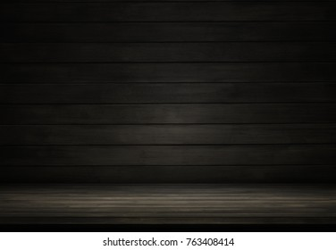 Dark wood room and studio background, can be used display product
