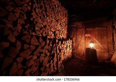 A dark wood splitting room