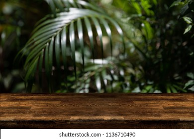 Dark wood table top with blur on green palm leaves or tree in tropical forest with bokeh light at background - Using for Mock up template for display of your design,Banner for advertise of product.