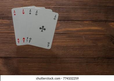 Dark wooden board game cards