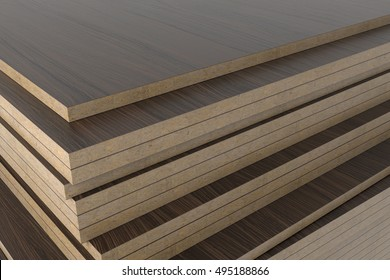 Dark wooden laminated chipboard panel without PVC edge. 3D render.