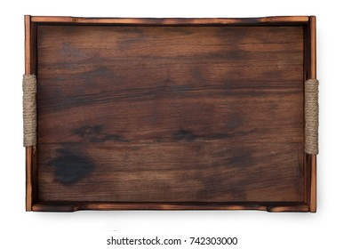 Dark wooden serving tray isolated on white background, top view.