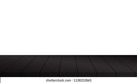 dark wooden tabletop on white background : can be used for montage - real natural surface wooden design