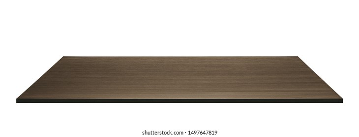 Dark wooden tabletop on white background. Made of plywood.
