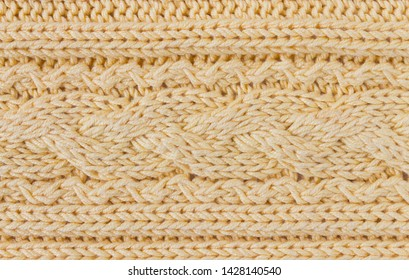 Dark Yellow Knitting Texture or Knitted Texture Background in macro style. Knitting Texture or Knitted Texture in vintage style for design