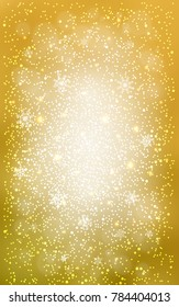 Dark Yellow vertical cover with beautiful snowflakes. Glitter abstract illustration with crystals of ice. The pattern can be used for year new  websites.
