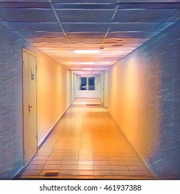 Darken corridor leading to closed doors. Digital illustration of medical or office building interior. Business style ceiling with modern design. Doors to cabinets or departments. Night orange lights
