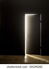 DARKENED ROOM DOOR OPENING WITH FLARE